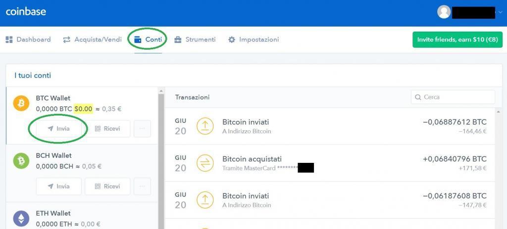 come inviare bitcoin da coinbase