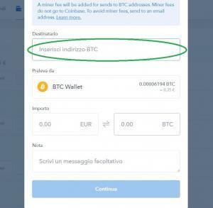 come spedire bitcoin da coinbase