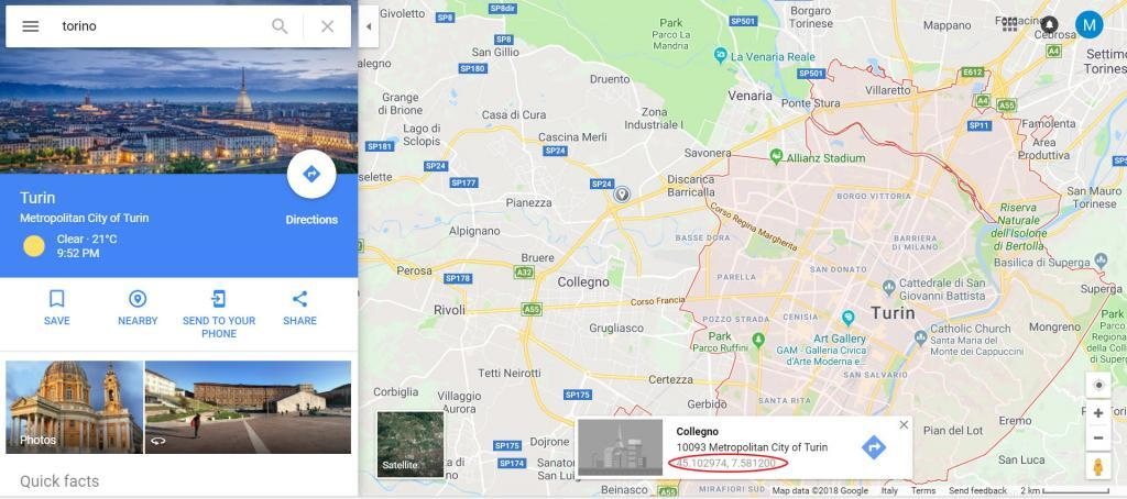come trovare coordinate su google maps