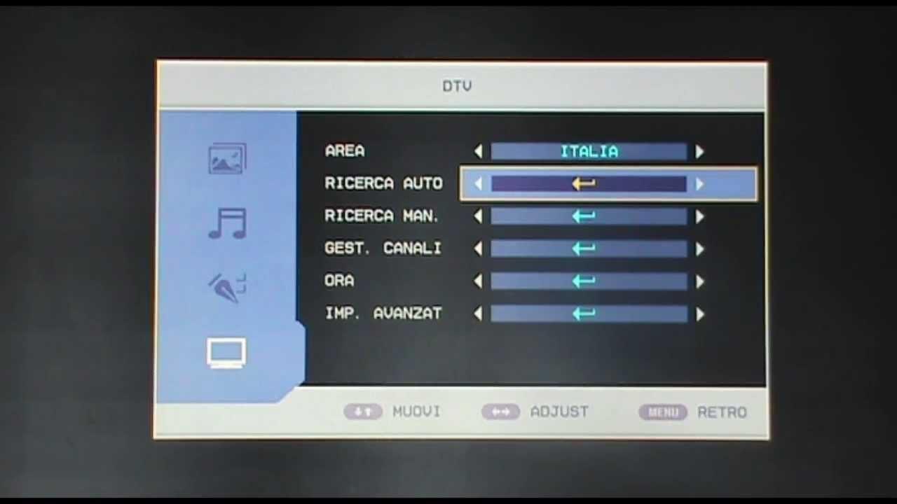sintonizzazione automatica canale 20