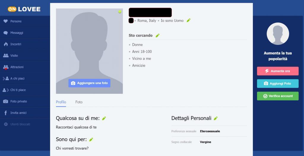 creazione profilo onlovee