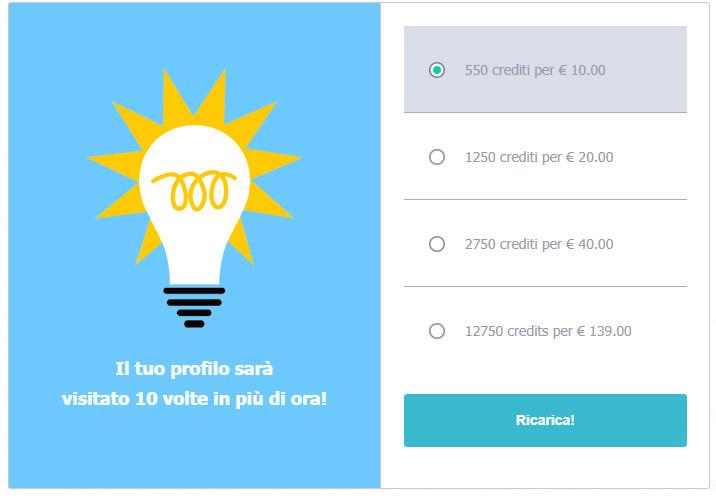 crediti per aumentare popolarità visibilità onlovee