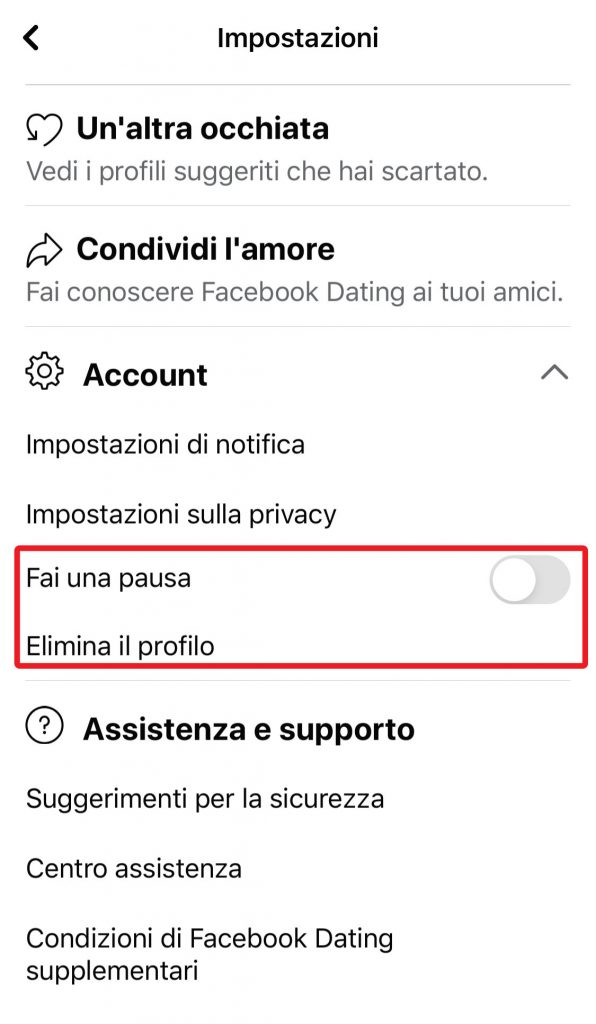 come cancellare profilo su fb dating