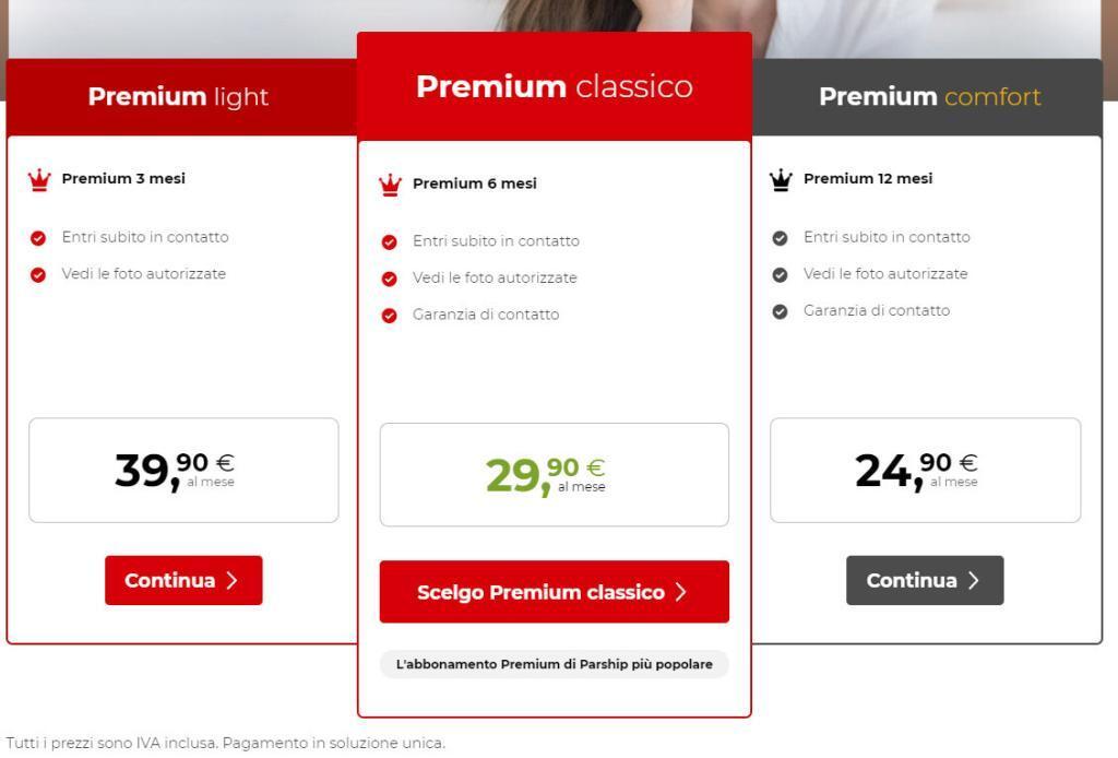 quanto costa parship prezzi